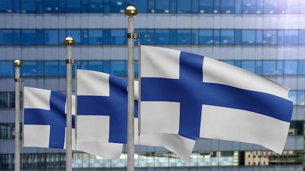 3d, finnische flagge weht im wind mit moderner wolkenkratzerstadt. finnland-banner bläst glatte seide. stoff textur fähnrich hintergrund. verwenden sie es für das konzept für nationalfeiertage und länderanlässe.