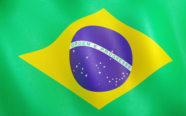3d flagge von brasilien.