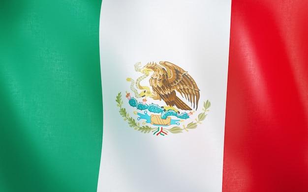 3d flagge von mexiko.
