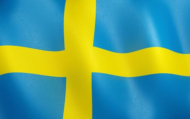 3d flagge von schweden.