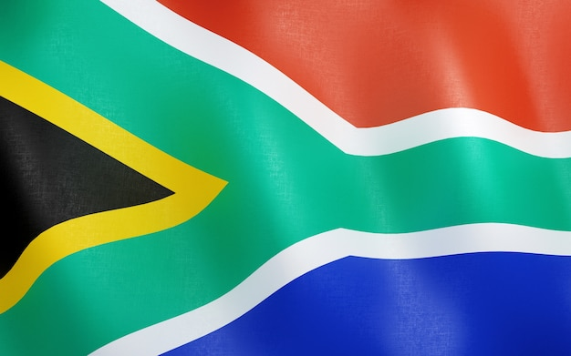 3d flagge von südafrika.
