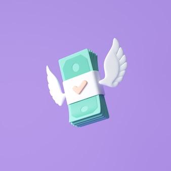3d fliegender geldstapel auf violettem hintergrund geld, das bargeldloses gesellschaftskonzept ausgibt