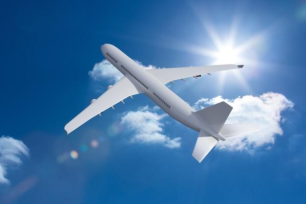 3d flugzeug fliegen in den himmel