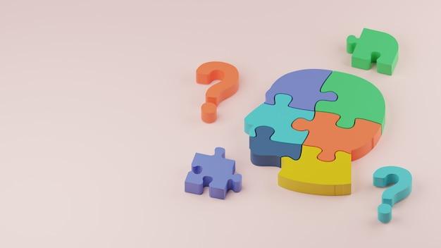 3d-frage und menschliches puzzle-problemlösungskonzept illustration premium-bild