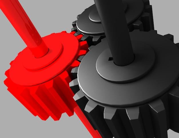 3d gear.the mechanismus. 3d gerenderte darstellung