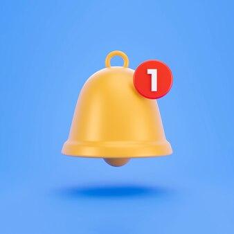 3d gelbe benachrichtigungsglocke mit einer neuen benachrichtigung auf pastellfarbenem hintergrund. social-media-benachrichtigung. trendiges 3d-rendering