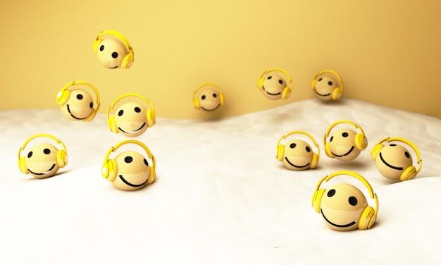 3d gelbe emojis mit kopfhörern