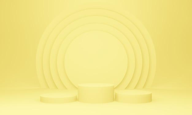 3d gelbes geometrisches bühnenpodest