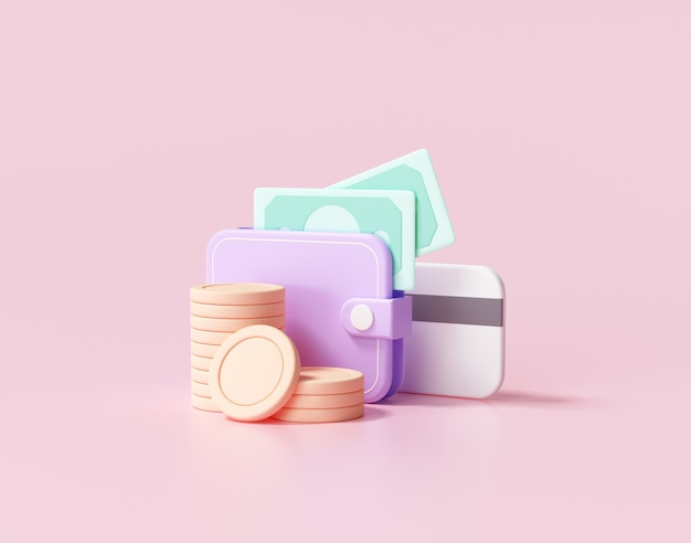 3d geld sparen konzept. brieftasche, rechnung, münzstapel und kreditkarte, 3d-rendering-illustration