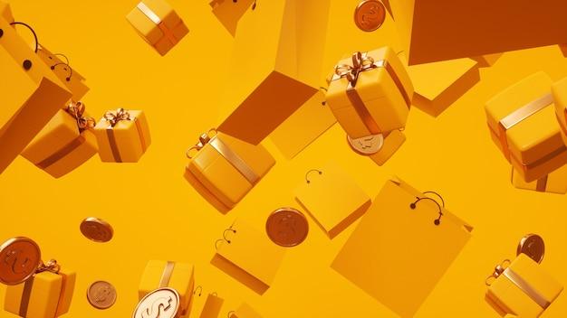 3d-geld und geschenke mit gelben geschenktüten, die zufällig in die luft gelegt werden