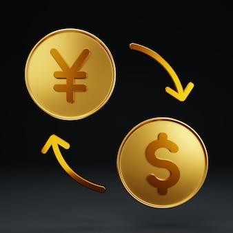 3d-geldwechsel yen-dollar auf schwarzem hintergrund