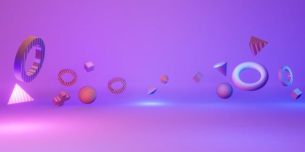 3d geometrische formen spaß und bunte hintergründe 3d illustration