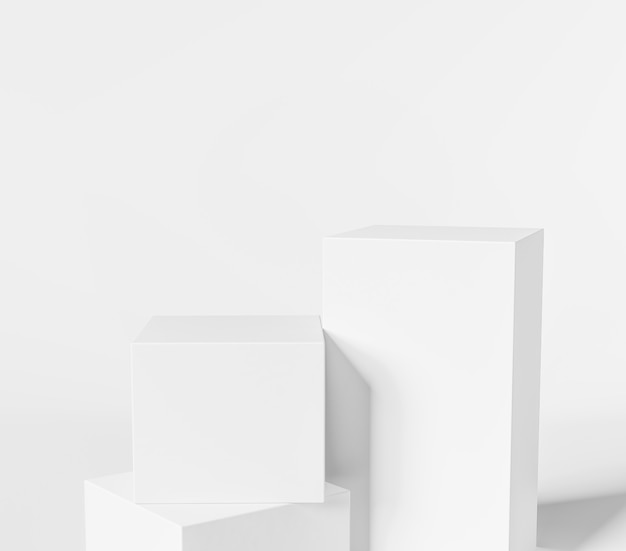 3d geometrisches weißes podium für produktplatzierung mit drei weißen würfeln