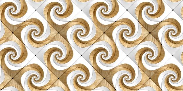 3d-geprägte paneele aus eichenholz und weißen glanzelementen
