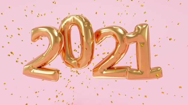 3d gerendert. goldene luftballons 2021 und goldene partikel. jubiläumsschild für neujahr.