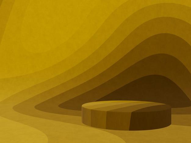 3d gerenderte abstrakte gelbe grafische kontur podium