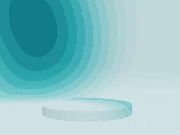 3d gerenderte abstrakte grünlich blaue grafikkontur podium