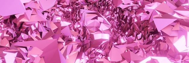 3d gerenderte abstrakte metallische rosa kristalle.