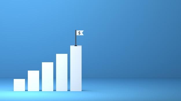 3d gerenderte diagramme steigern das wachstum des geschäftsgewinns zum erfolg