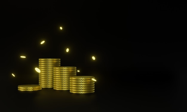 3d gerenderte goldmünzen auf schwarzem hintergrund