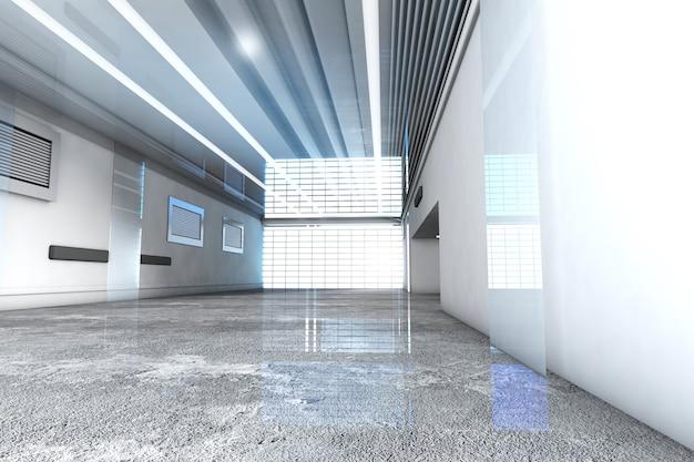 3d gerenderte illustration eines industriellen innenraums