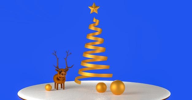 3d gerenderte illustration eines modellrentiers und der abstrakten goldenen weihnachtsbäume auf einem schneebedeckten sockel.