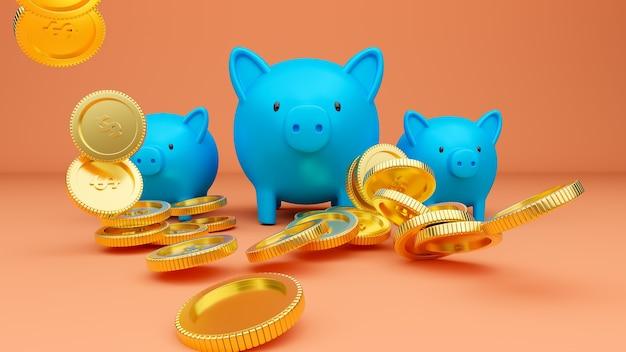 3d gerenderte illustration von drei blauen sparschweinen und fallenden goldenen münzen
