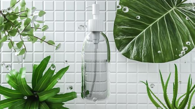 3d gerenderte kosmetische glaspumpenflasche mit blättern für produktanzeige