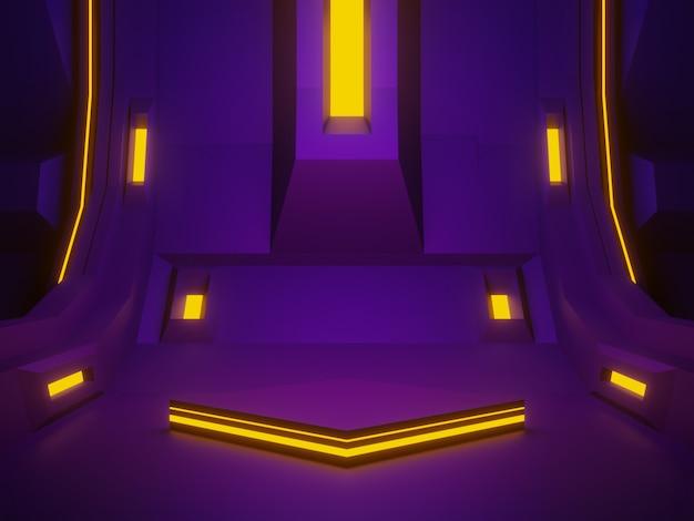 3d gerenderte lila raumschiff-raumbühne. futuristischer hintergrund.