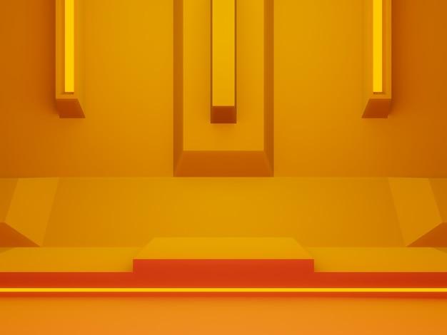3d gerenderte orange futuristische bühne