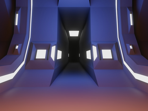 3d gerenderte raumschiff-raumbühne futuristischer hintergrund