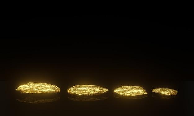 3d gerenderte reine goldnuggets auf schwarzem hintergrund.