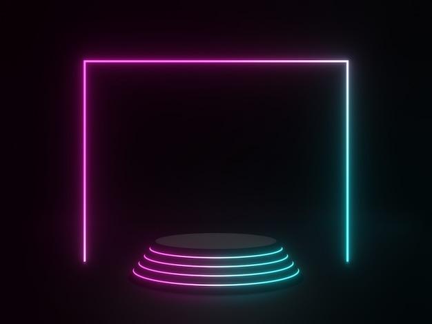 3d gerenderte schwarze geometrische ständer mit neonlicht dunkler hintergrund