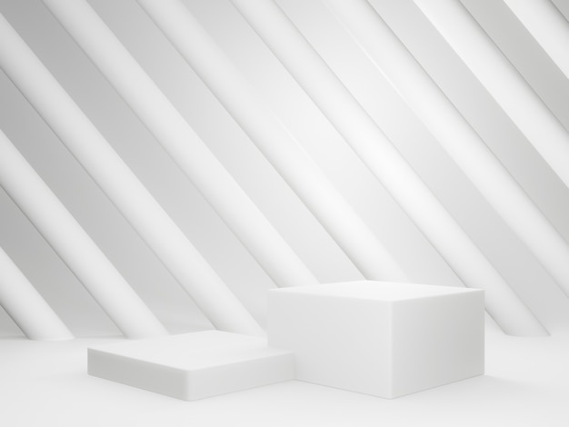 3d gerenderte weiße geometrische produktständer und lichter