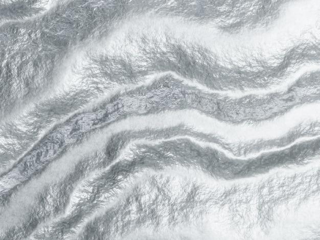 3d gerenderter abstrakter grauer metallischer hintergrund. welliges silber.