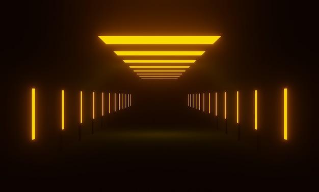3d gerenderter futuristischer korridor. dunkler tunnel mit gelben lichtern.