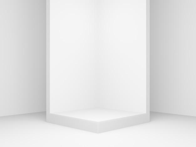 3d gerenderter geometrischer produktständer. weißer eckhintergrund