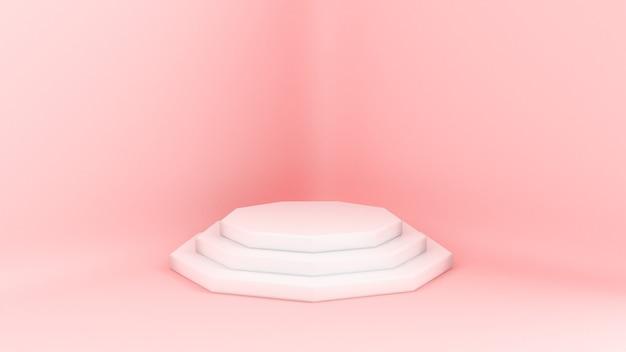 3d gerenderter laufsteg. plattformen für die produktpräsentation, minimalistische mokap-zusammensetzung