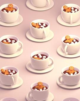 3d gerenderter lebkuchenmann, der ein warmes heißes schokoladenbad mit süßem marshmallow-muster nimmt?