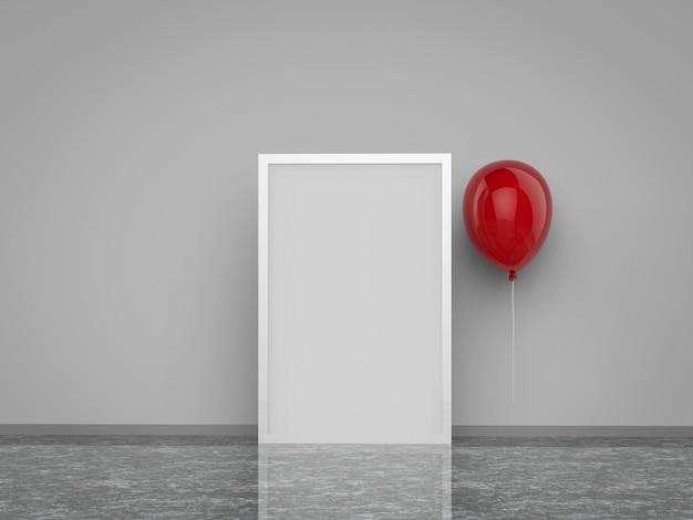 3d gerenderter leerer quadratischer rahmen mit rotem ballon
