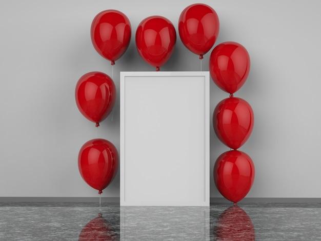 3d gerenderter leerer quadratischer rahmen mit roten luftballons