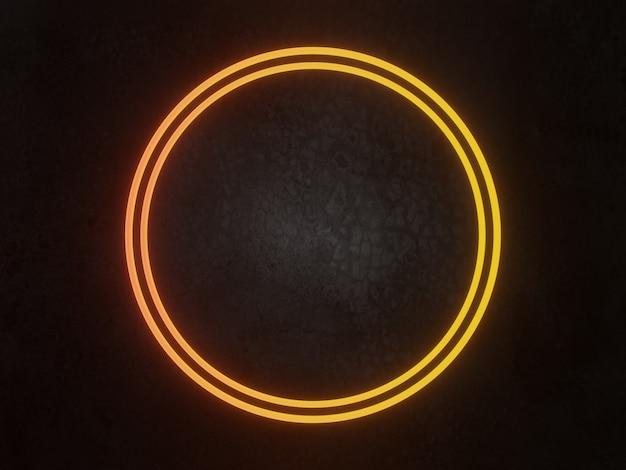 3d gerenderter neonrahmen auf betonwandhintergrund