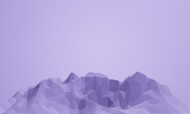 3d gerenderter niedriger polypurpurner berg.