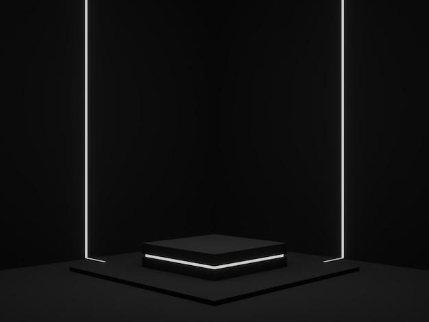 3d gerenderter schwarzer geometrischer produktständer. dunkler eckhintergrund mit weißem neonlicht