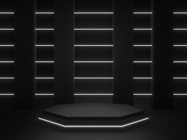 3d gerenderter schwarzer geometrischer produktständer. dunkler hintergrund mit weißem neonlicht