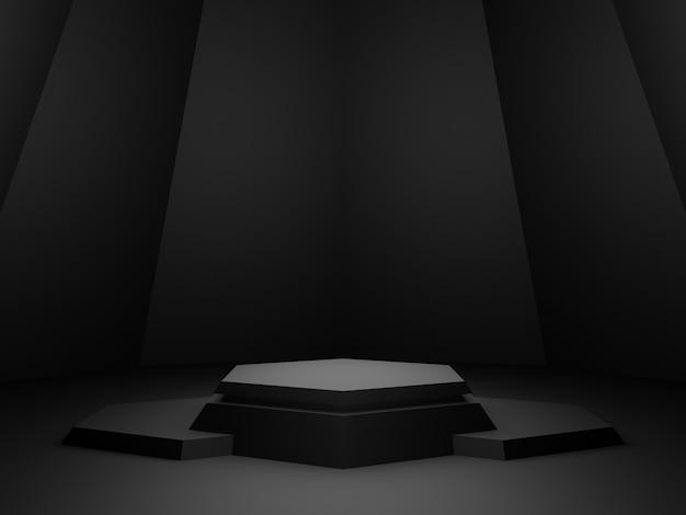 3d gerenderter schwarzer geometrischer produktständer. dunkler hintergrund.