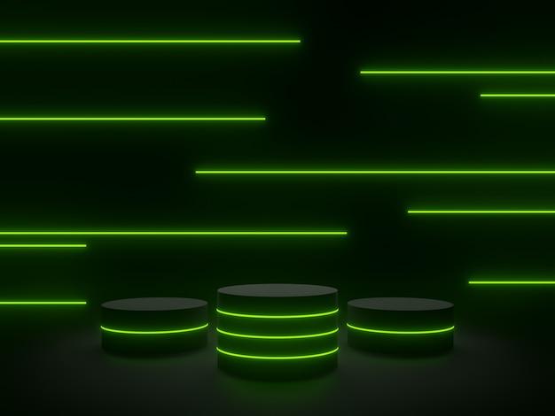 3d gerenderter schwarzer geometrischer ständer mit grünem neonlicht. dunkler hintergrund
