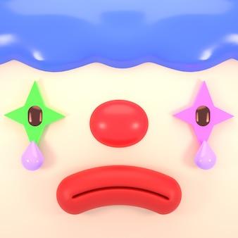 3d gerenderter trauriger cartoon-clown mit tränen