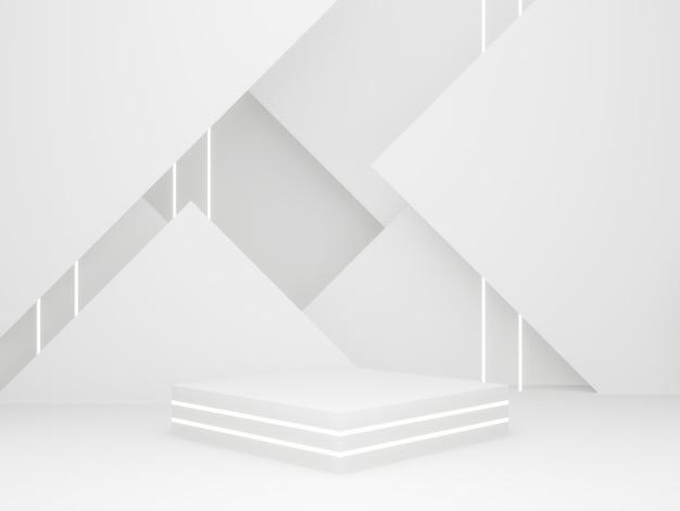3d gerenderter weißer geometrischer produktständer.