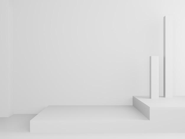 3d gerenderter weißer geometrischer ständer